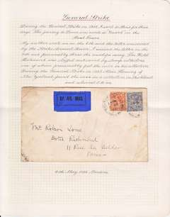 """(GB Internal) Emergency mail during the Great General Strike, 6 May 26 sent by his mother from Putney to Mr Robson Lowe at the Hotel Richmond in Paris, bs Paris Distribution 7.5.26, plain cover franked 4 1/2d with a blue 'By Air Mail' label applied, flown during the General Strike, reputably by a French pilot who was paid 2/6 in cash for each letter. The cover is mounted on Robson Lowe's own album page with the explanatory text written in his hand (see scan). This cover is illustrated and described in """"British External Airmails until 1934"""" by Alex Newall, pp75,75, who has given it a scarcity value of 'RRR', ie 5 or less examples known."""