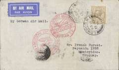 (GB External) Great Britain to Uruguay, first acceptance of GB mail for carriage on the inaugural  Lufthansa service from Europe to South America,London to  Montevideo, bs 20/4, via Berlin 13/4, airmail etiquette cover franked 1/-, canc London W1 13.Apr.34 cds, red circular 'Mit Luftpost.Berlin C2' and 'Deutsche Luftpost/Europa-Sudamerika' staging cachets, typed 'By German Air Mail'.