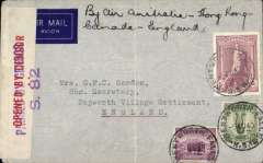 (Australia) WWII censored 'all the way by air' cover flown by an expensive, short lived and little used service from Australia to England, imprint etiquette airmail cover franked 6/5d, canc Wentworth Falls cds, ms 'By Air Australia-Hong Kong-Canada-England', sealed red/cream Australian OBC censor tape tied by violet two line PBC S.82 censor mark. This all air service, which only lasted from 26 June 1940 to September 1940, flew Qantas from Australia to Bangkok, BOAC to Hong Kong, Pan Am to San Francisco, US internal airline to New York/ Canada, Pan Am to Lisbon, and BOAC/KLM to England.Ironed vertical crease, scarce.