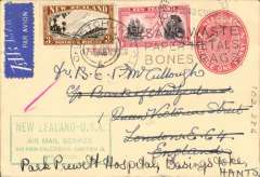 "(New Zealand) Christchurch to London, 2.Aug.40 arrival cds on front, first acceptance of GB mail for carriage on the inaugural Pan Am FAM 19 service from Auckland to San Francisco, 1d PSC with additional 3/- and 1d stamps, green framed 'New Zealand-USA' flight cachet, blue/white airmail etiquette. Two ocean and trans-continental USA by Pan Am, and  Lisbon-London on the newly formed BOAC DH-91 service. A scarce item, all the more so, because it has a London arrival ds. According to Walker, Airmails of New Zealand, Vol , p336 - ""London mail was not backstamped""."