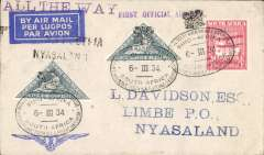 "(South Africa) The Visit of HRH Prince George to Southern Africa, first acceptance of mail from South Africa to Nyasaland, bs Limbe 9/3, for carriage on the F/F R.A.N.A. Southern Rhodesia-Nyasaland service,  Imperial Airways blue winged logo corner cover franked  4d x2 +1d South Africa stamps canc with special postmark of the PO attached to the Royal Train used by HRH Prince George during his visit to Southern Africa, also black two line 'S.Rhodesia/Nyasaland' and violet st. line 'First Official Air Mail' hand stamps. The flight was not announced outside Nyasaland and S. Rhodesia and even then only seven days notice was given"".....""The most desirable F/F's are those posted on the Royal Train while it was in Basutoland and in the Union"".  See South African Air Mails, Morton D.G., 2005, p25. A rare cover in fine condition."