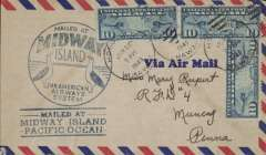 (Midway Island) Airmail cover mailed from Midway Island and posted on arrival at Honolulu Jun 23, 1940, franked 30c air, fine strikes of blue circular 'Mailed at  Midway Island' with Gooney Bird, and the scarcer blue three lined 'Mailed At/Midway Island/Pacific Ocean' cachets. Neat non invasive 7mm left hand side trim. Sent from the Navy Construction Camp and signed verso by nine contractors. Tensions between the Japanese and Americans were high and, with Midway deemed second only to Pearl Harbor, Oahu in importance for protection of the West Coast,  the Navy, in March 1940, working with private industry, formed a coalition of contractors known as Contractors Pacific Naval Air Bases to start construction of the runways on Eastern and other infrastructure on Sand Island in preparation for possible hostilities.