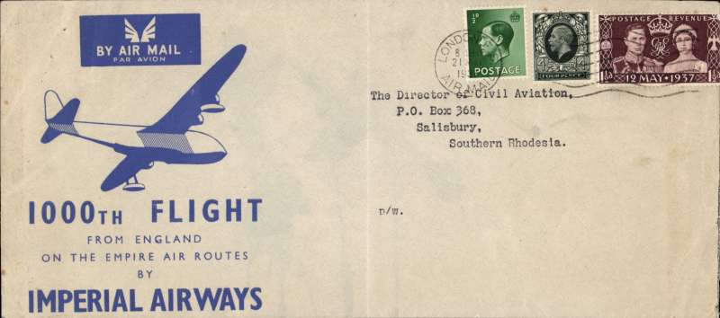"(GB External) Imperial Airways printed souvenir cover, 21x10cm, commemorating the 1000th flight from England on the Empire air routes, addressed to The Director of Civil Aviation, Salisbury, Southern Rhodesia, 6d three reign franking (acknowledging the three reigns during which the 1000 flights were made). The cover was carried by RMA ""Castor"". A super item."