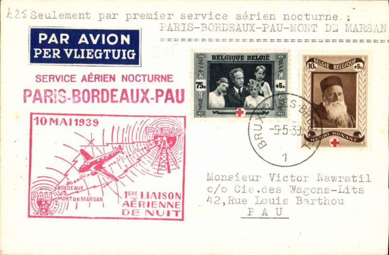 (France) Belgium acceptance for the 1st Paris-Bordeaux-Pau night flight, Nawratil cover franked 80c, canc Brusells cds, large red cachet.