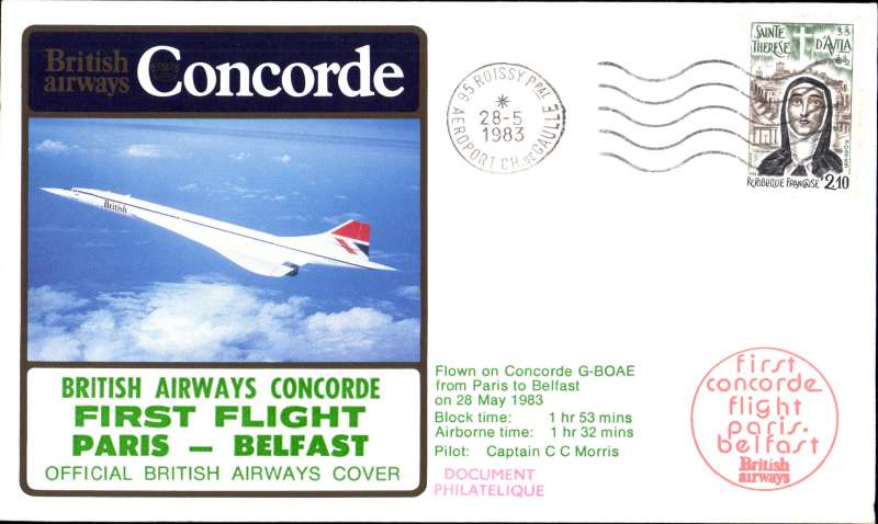 (Concorde) Concorde, 1st flight Paris-Belfast, bs.