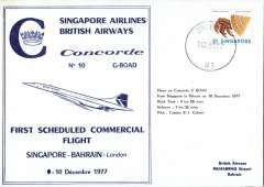 (Concorde) Concorde, 1st scheduled commercial flight Singapore to Bahrain, bs.