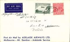 (Australia) Adelaide Airways Ltd, F/F Adelaide to Melbourne, bs, attractive blue/white Vacuum Oil Company suvenir cover franked 5d, small mail. Signed by the pilot H. Gayton Kirkman.