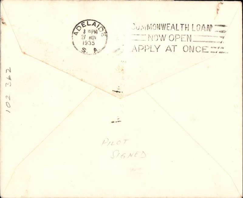 (Australia) Adelaide Airways Ltd, F/F Mount Gambier to Adelaide, bs, plain airmail etiquette cover franked 5d, small mail. Signed by the pilot H. Gayton Kirkman.