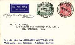 (Australia) Adelaide Airways Ltd, F/F Melbourne to Mount Gambier, bs 27/11, attractive blue/white Vacuum Oil Company suvenir cover franked 5d, small mail. Signed by the pilot H. Gayton Kirkman.