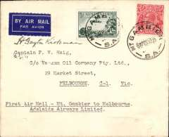 (Australia) Adelaide Airways Ltd, F/F Mount Gambier to Melbourne, bs, plain airmail etiquette cover franked 5d, small mail. Signed by the pilot H. Gayton Kirkman.