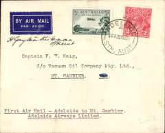 (Australia) Adelaide Airways Ltd, F/F Adelaide to Mount Gambier, bs 26/11, plain airmail etiquette cover franked 5d, small mail. Signed by the pilot H. Gayton Kirkman.