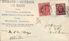 "(GB External) Mac Robertson Race, London to Melbourne, confirmatory Melbourne arrival mark cds on front tying Australia GV 2d, violet eight line ""England-Ausralia/Air Races......"" flight cachet, carried by McGregor and Walker in Miles Hawk Major, ZK-ADJ, signed by both pilots."