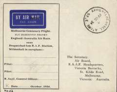 (GB External) MacRobertson Air Race, unused grey/black stampless souvenir airmail cover, printed 'Melbourne Centenary Flight...........Despatched from RAF Station Mildenhall in aeroplane................Signed Pilot/ Pilot/ R. Ae. C. Control Officer.........Date....October 1934'
