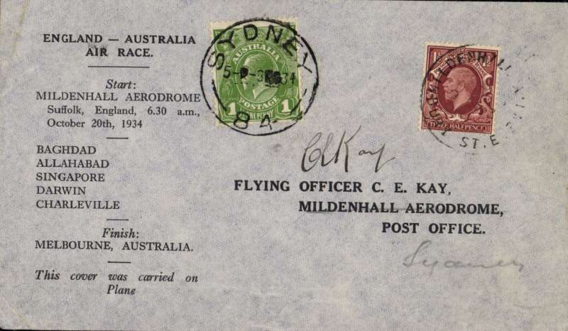 "(GB External) MacRobertson Air Race, England-Australia, Mildenhall  depart cds, Sydney arrival 8/11 cds tying Australia 1d stamp on front, official black/grey printed cover carried by Hewitt, Kay and Stewart in Dragon Rapide ""Tanui"", signed by CE Kay."
