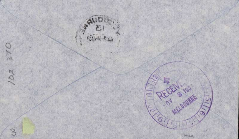 """(GB External) MacRobertson Air Race, England-Australia, Mildenhall  depart cds, Melbourne arrival  9/11 cds tying Australia 1d stamp on front, 8/11 Melbourne 'clock' receiver verso, official black/grey printed cover carried by Hewitt, Kay and Stewart in Dragon Rapide """"Tanui"""", signed by CE Kay."""