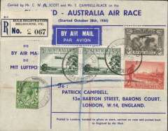 "(GB External) Mac Robertson Race, Mildenhall to Melbourne, confirmatory arrival ds 24/10, printed cover carried by CWA Scott and T Campbell-Black (as illustrated p353 Newall), signed verso by both pilots, also verso ""Grosvenor House-Arrived Melbourne/3hrs.34mins.3secs.pm Oct 23""........."" violet two line cachet."
