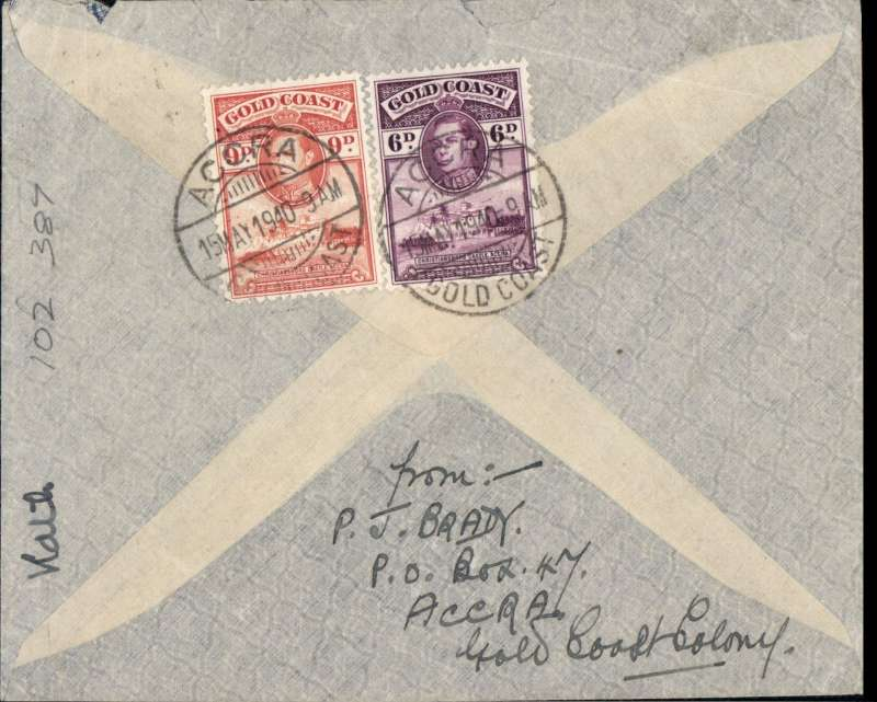 (Gold Coast) Early WWII airmail cover posted in Accra on May 15, 1940 to England,  franked 1/3d verso, red hexagonal 'Passed by Censor/6/Gold Coast' censor mark. Correctly rated 1/3d for carriage by BOAC via Khartoum and Cairo, or Aeromaritime/Air France via Dakar and Paris. Both these services terminated when Italy entered the war  in June 1940.