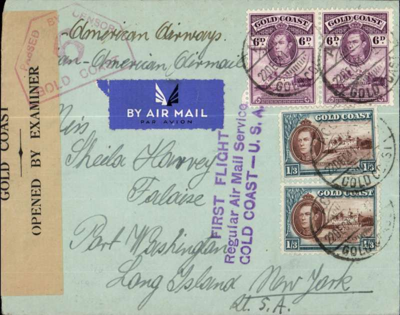 "(Gold Coast) WWII censored F/F, Gold Coast to USA via the all air Pan Am FAM 22 West Africa-Brazil-Miami service, Accra to New York, plain airmail etiquette cover, correctly rated 3/6d for Gold Coast-US mail, ms ""Pan-American Air Mail"", fine strike violet three line ""First Flight/Regular Air Mail Service/GOLD COAST-USA"" flight cachet, sealed buff/black 'Gold Coast/OBE' censor tape tied by red hexagonal PBC/9/Gold Coast censor mark. Carried by Pan Am to Miami, then US internal air service to final destination. A nice wartime item."