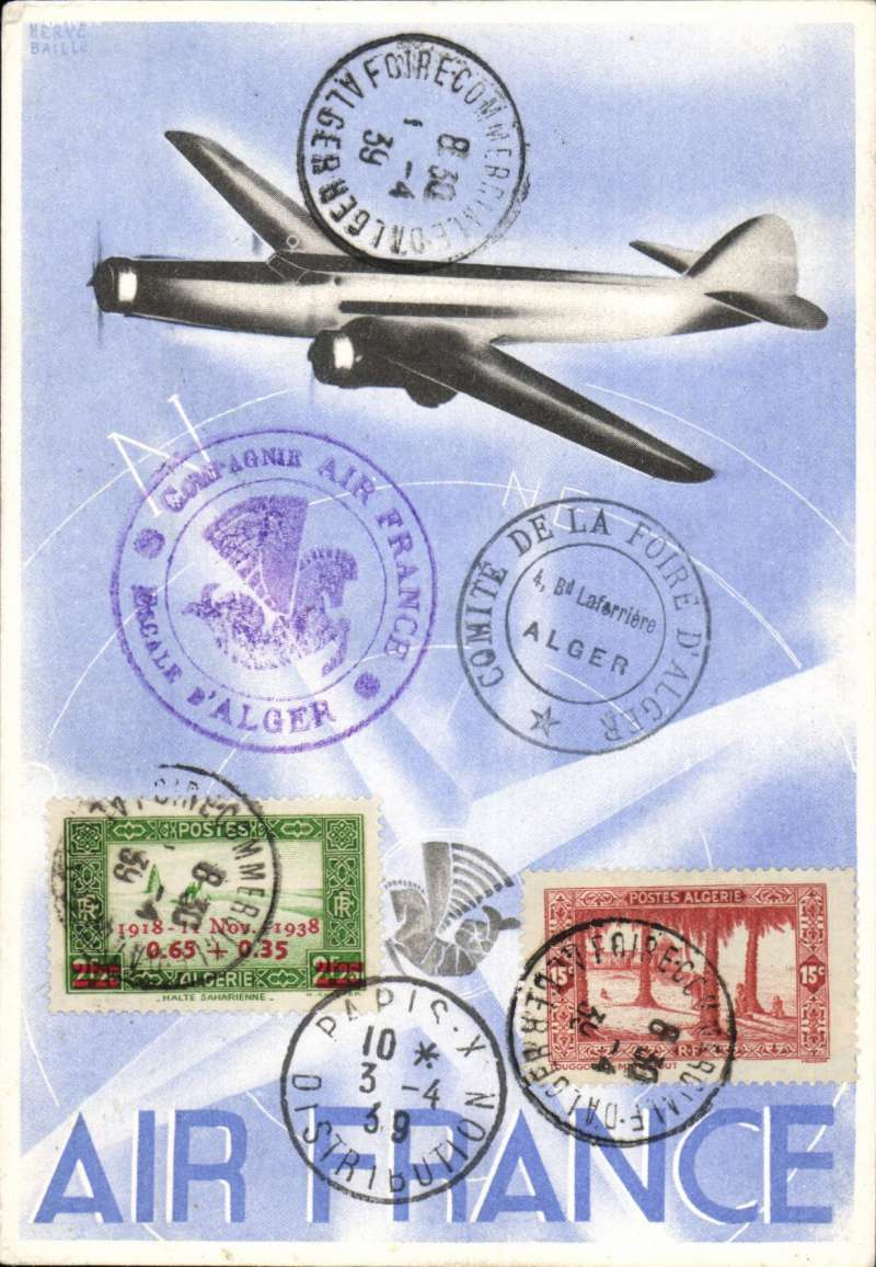 (Algeria) Air France publicity card used with special postmark for the Algerian Commercial Fair, issued for use with reduced postage during the Christmas and New Year period, but used outside this period.