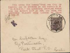 (India) Second Calcutta Flight by 'Moth' plane, attractive red/buff printed souvenir cover with printed red six line 'King's Cup' cachet and small black 'Butterfly' cachet, franked 1a, canc Calcutta, also bs Calcutta 2/7, initialled by by FLt W H Vetch.