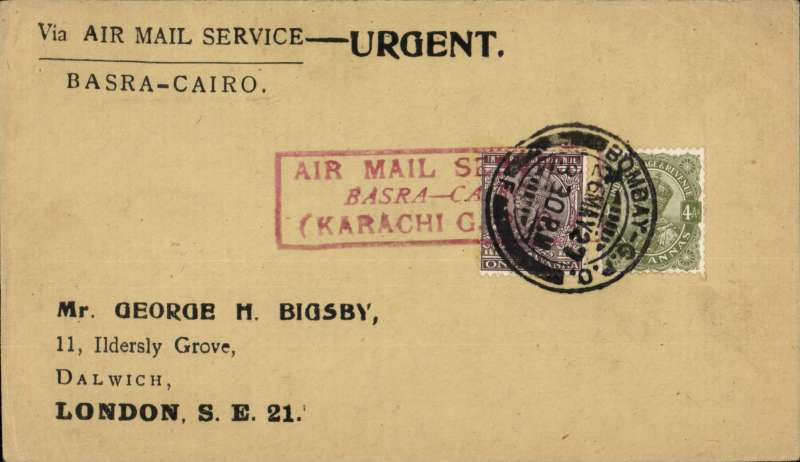 (India) Imperial Airways, Bombay to London via the Cairo-Basra air mail service, bs 2/6,  special printed 'Via Air \Mail Service URGENT/Basra-Cairo' corner cover, frankeed 5 annas canc Bombay cds tied by fine strike red framed 'Air Mail Service/Basra-Cairo/9Karachi GPO'