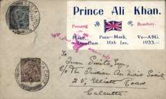(India) Penang-Bombay by Prince Ali Khan, cover flown on return flight from Bombay to Calcutta, special label with details of flight, tied red arabic airmail 'Asmani Ghari' cachet, franked 1a 3p, canc Santa Cruz, Bombay, bs Calcutta, Park Street on return, signed Stephen Smith.