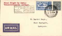 (India) F/F India Transcontinental Airways, Karachi to Cawnpore, bs 8/7, airmail etiquette cover franked 3a 3p, black framed 'Karachi-Calcutta/7 Jul.33/First Airmail' cachet front and verso.