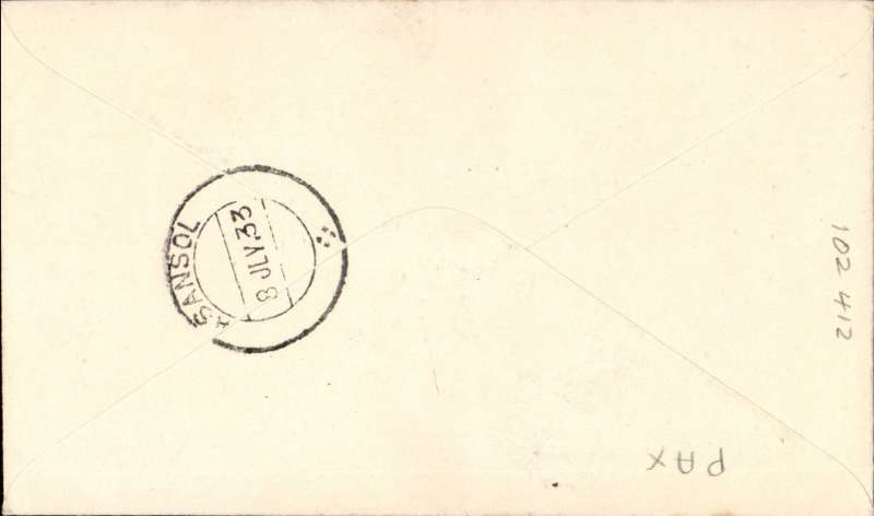 (India) F/F India Transcontinental Airways, Cawnpore to Asansol, bs 8/7, airmail etiquette cover franked 3a 3p, black framed 'Karachi-Calcutta/7 Jul.33/First Airmail' cachet front and verso.