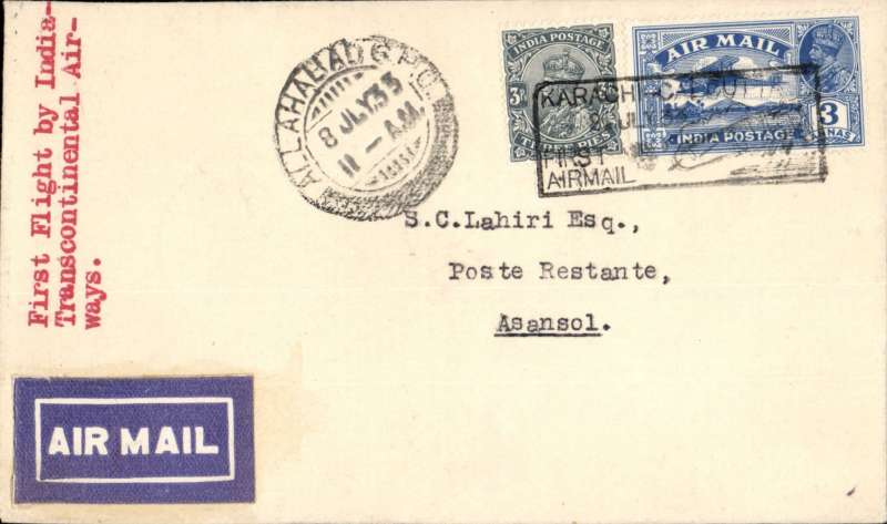 (India) F/F India Transcontinental Airways, Allahabad to Asansol, bs 8/7, airmail etiquette cover franked 3a 3p, black framed 'Karachi-Calcutta/8 Jul.33/First Airmail' cachet front and verso.