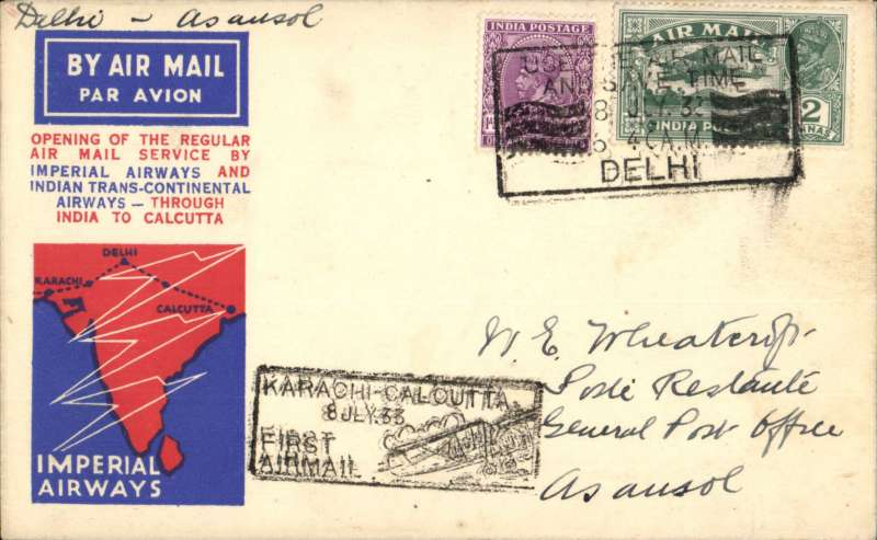 (India) F/F India Transcontinental Airways, New Delhi to Asansol, bs 8/7, red/white/blue souvenir cover franked 3a 3p, black framed 'Karachi-Calcutta/8 Jul.33/First Airmail' cachet.