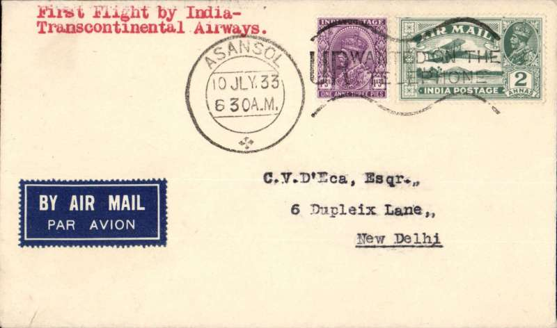 (India) F/F India Transcontinental Airways, Asansol to New Delhi, bs 11/7, airmail etiquette cover franked 3a 3p, black framed 'Calcutta-Karachi/11 Jul.33/First Airmail' cachet front and verso.