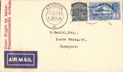 (India) F/F India Transcontinental Airways, Asansol to Cawnpore, bs 11/7, airmail etiquette cover franked 3a 3p, black framed 'Calcutta-Karachi/11 Jul.33/First Airmail' cachet  verso.
