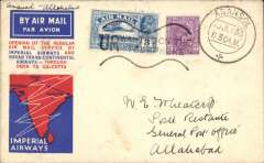 (India) F/F India Transcontinental Airways, Asansol to Allahabad, bs 11/7, airmail etiquette cover franked 3a 3p, black framed 'Karachi-Calcutta/7 Jul.33/First Airmail' cachet front and verso.