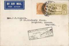 (India) Calcutta to England, carried on F/F India Transcontinental Airways, Calcutta to Karachi, airmail etiquette cover franked 8a 6p, black framed 'Calcutta-Karachi/11 Jul.33/First Airmail' cachet. The cover bears a blue 'The Calcutta Scottish AF (1)' logo on the flap. The Calcutta Scottish was a regiment of volunteers of Scottish descent raised in 1914 as an infantry regiment of the British Indian Army. The regiment formed part of the army reserves of the Auxiliary Force, India (AFI).