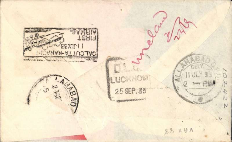 (India) F/F India Transcontinental Airways, return flight, Calcutta to Allahabad, bs 11/7, red/white/blue souvenir cover franked 3a 3p, black framed 'Calcutta-Karachi/11 Jul.33/First Airmail' cachet verso. Only 4 flown, Newall 33.13Ae1.