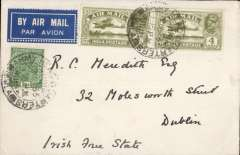 (India) Simla (Delhi) to Dublin, Ireland, carried on F/F IAW/India Transcontinental Airways, Calcutta-Karach-London service, Karachi 14/7 transit cds, non philatelic airmail etiquette cover franked 8a canc Simla Army Head Quarters  cds. The cover bear an embossed blue logo of a spear and a crown with 'A Cuspide Corona' text. This was the crest of the Irish Broderick family.  f
