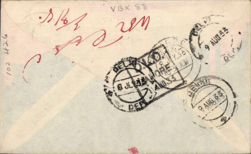 (GB External) Imperial Airways connects with ITCA, London to Delhi, bs 8/7, red/white/blue souvenir cover franked 8d, canc CROYDON AERODROME cds.