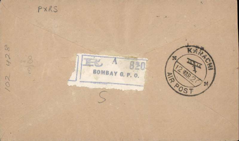 """(India) Bombay-Karachi, 7th flight northwards flown by RAF Squadron 97, registered (label verso)  cover franked  10 1/2a, canc special """"Bombay/6 Mar 20/Air Post'' cds, typed 'Via Bombay-Karachi Air Mail/Registered'. Lack of public support forced the govt to cancel this service after this, the seventh and last, flight.."""