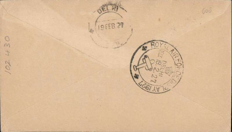 (India) Stack and Leete deliver mail, Karachi to Delhi, bs special 'Royal Air Force Display/Delhi/18.2.27' cds, plain cover franked 1a tied by fine rectangular violet framed 'Messrs Stack & Leete' flight cachet, also Karachi/14 Feb 27 cds on front,