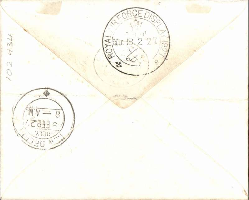 (India) Stack and Leete deliver mail, Lahore to Delhi, bs special 'Royal Air Force Display/Delhi/18.2.27' cds, uncommon black/white OHMS 'Railway Dept' envelope franked 1a 'Service' canc special 'Royal Air Force Display/Lahore/18.2.27' cds.