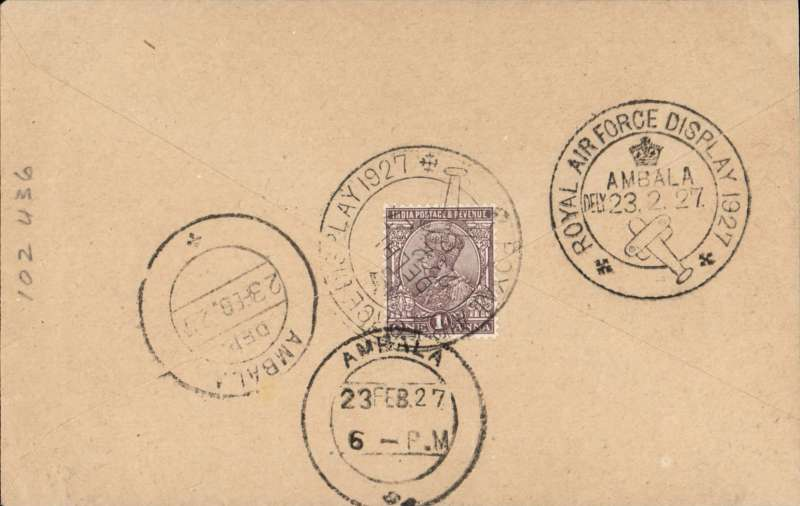 (India) RAF Pageant Demonstration Flights, Delhi to Ambala, special 'Royal Air Force Display/Ambala/23.2.27' arrival ds, plain cover franked 1a canc special 'Royal Air Force Display/Delhi/23.2.27' cds.
