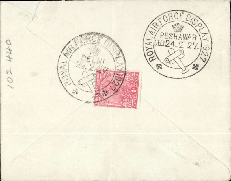 (India) RAF Pageant Demonstration Flights, Delhi to Peshawar, superb strike special 'Royal Air Force Display/Peshawar/24.2.27' arrival ds, plain cover franked 1a verso, canc special 'Royal Air Force Display/Delhi/22.2.27' cds. Top corner edge nick, does not detract.