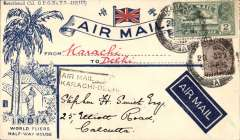 """(India) F/F Karachi to Delhi, black boxed flight cachet,1929 etiquette rated very scarce (Mair), b/s Calcutta 2/1/30, official printed """" India World Fliers Air Mail"""" cover, addressed in hand of Stephen Smith and signed by him verso, India State Air Service. Attractive item"""