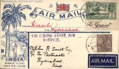 (India) Karachi to Hyderabad, bs 24/2, attractive 'India/World Fliers/Half-Way House' cover franked 2a + 1a canc Karachi cds, black two line 'Via Indian State Air/Service' hs, signed Stephen Smith verso. The edging of the 2a stamp is signed by the stamp's designer G. Grant, who has also signed flap. In 1930 the Indian State Air Service is known to have operated a flight from Karachi to Hyderabad, but we know nothing else about this service. One for the specialist.
