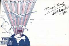 (India) Rough proof of the official envelope designed, signed and dated 13/7/32 by Stephen Smith for the inauguration of the new Tata Karachi-Maras service. It was red and blue and showed a Union Jack over the map of India. It was approved for sale by Tata on 27 June 1932 but was withdrawn from sale 11 days later - being deemed unpatriotic for an Indian venture. Nice item in fine condition.
