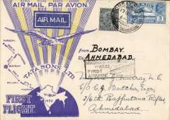 (India) TATA take over mails from IAW for Karachi-Madras route, F/F Bombay to Ahmedabad, bs 19/10, special TATA cover with yellow rays and no Union Jack, franked 3anna 3p,  black boxed 'Madras-Karachi/First Air Mail/18 Oct 32' cachet, signed Stephen Smith verso. Flown by Neville Vincent, Newall 60u.