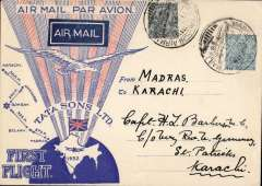 (India) TATA take over mails from IAW for Karachi-Madras route, F/F Madras to Karachi, bs 19/10, special TATA cover with red rays and Union Jack, franked 3 anna 3p, canc special 'Madras-Karachi Airmail' cds, black boxed 'Madras-Karachi/First Air Mail/17 Oct 32' cachet verso, signed Stephen Smith verso. Flown by Neville Vincent, Newall 60u.
