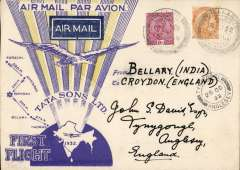 (India) TATA take over mails from IAW for Karachi-Madras route, F/F Bellary to London, Anglesey 25 Oct 32 arrival ds on front, special TATA cover with yellow rays and no Union Jack, franked 3 anna 3p, signed Stephen Smith verso. Flown by Neville Vincent, Newall 60u. Carried by Tata from Bellary-Karachi, then IAW to London.
