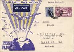 (India) TATA take over mails from IAW for Karachi-Madras route, F/F Madras to London, bs Kensington 25 Oct 32 cds, special TATA cover with yellow rays and no Union Jack, franked 11 anna 6p, black boxed 'Madras-Karachi/First Air Mail/17 Oct 32' cachet and signed Stephen Smith verso. Flown by Neville Vincent, Newall 60u. Carried by Tata from Madras-Karachi, then IAW to London.