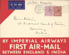 "(GB External) Imperial Airways England-India service, London to Bombay, bs 9/4, carried on F/F Croydon-Karachi, official red/white ""By Imperial Airways First Air Mail between England and India"" cover, franked 7 1/2d, canc Chelsea SW3 cds, airmail etiquette."